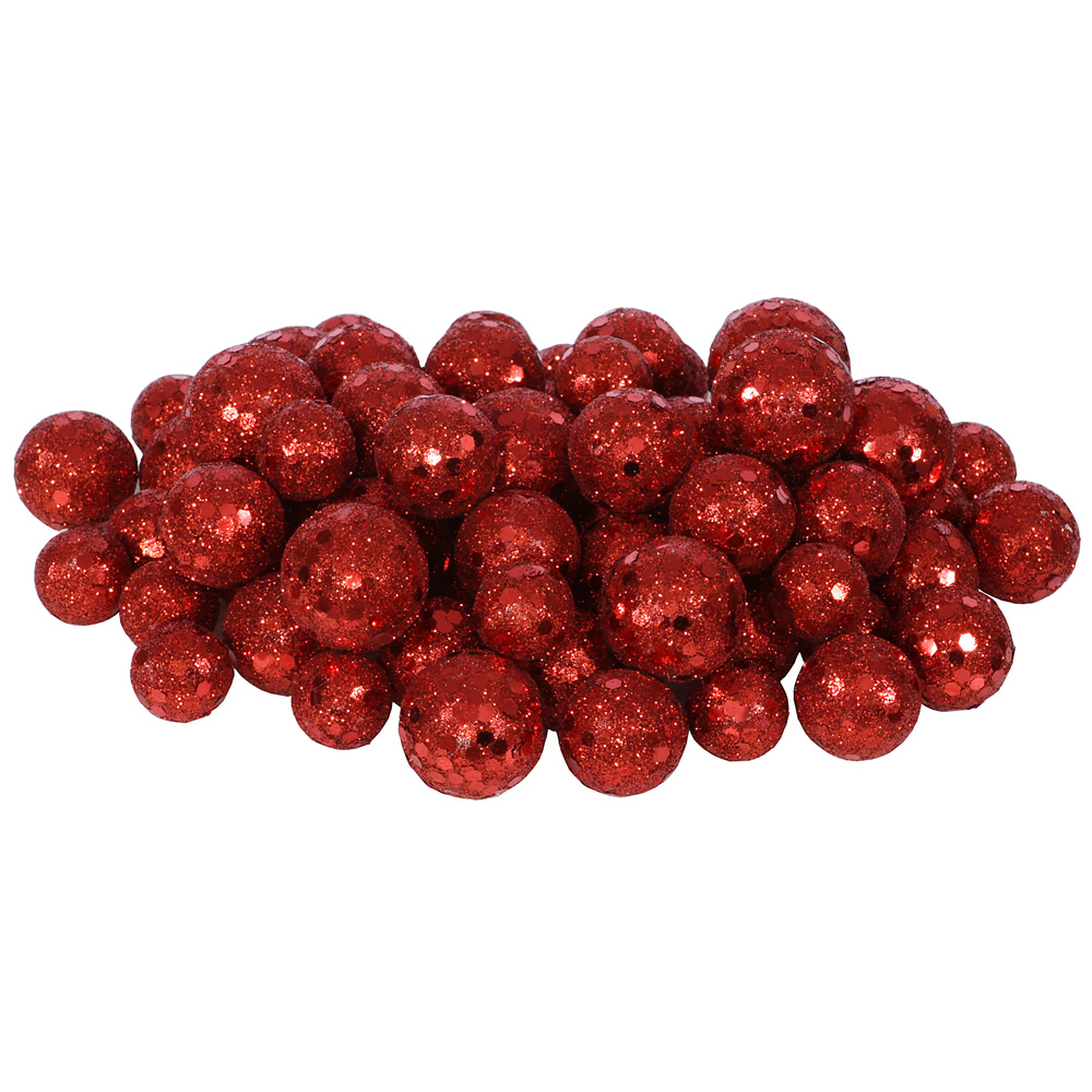 Red Glitter Sequin Styrofoam Ball Assorted Sizes Pack of 72