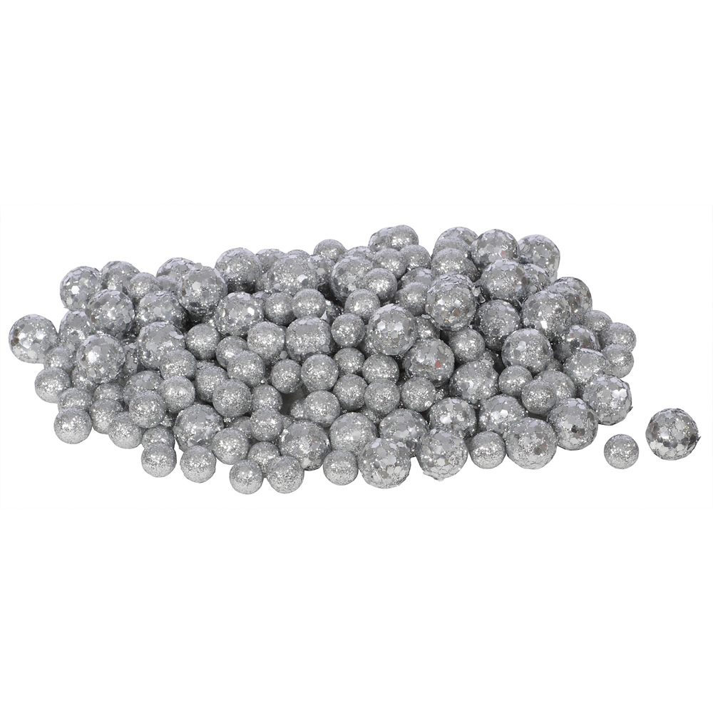 Silver Glitter Sequin Styrofoam Ball Assorted Sizes Pack of 72