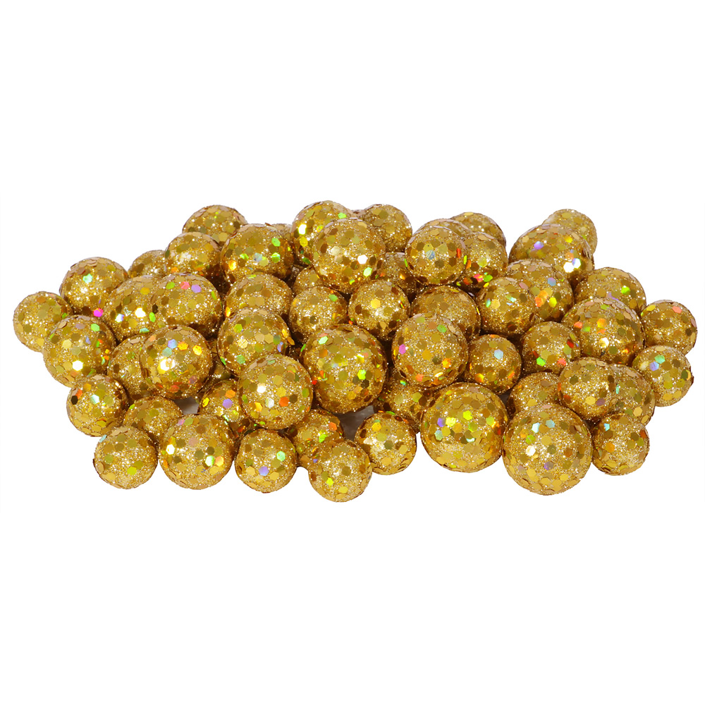 Gold Glitter Sequin Styrofoam Ball Assorted Sizes Pack of 72