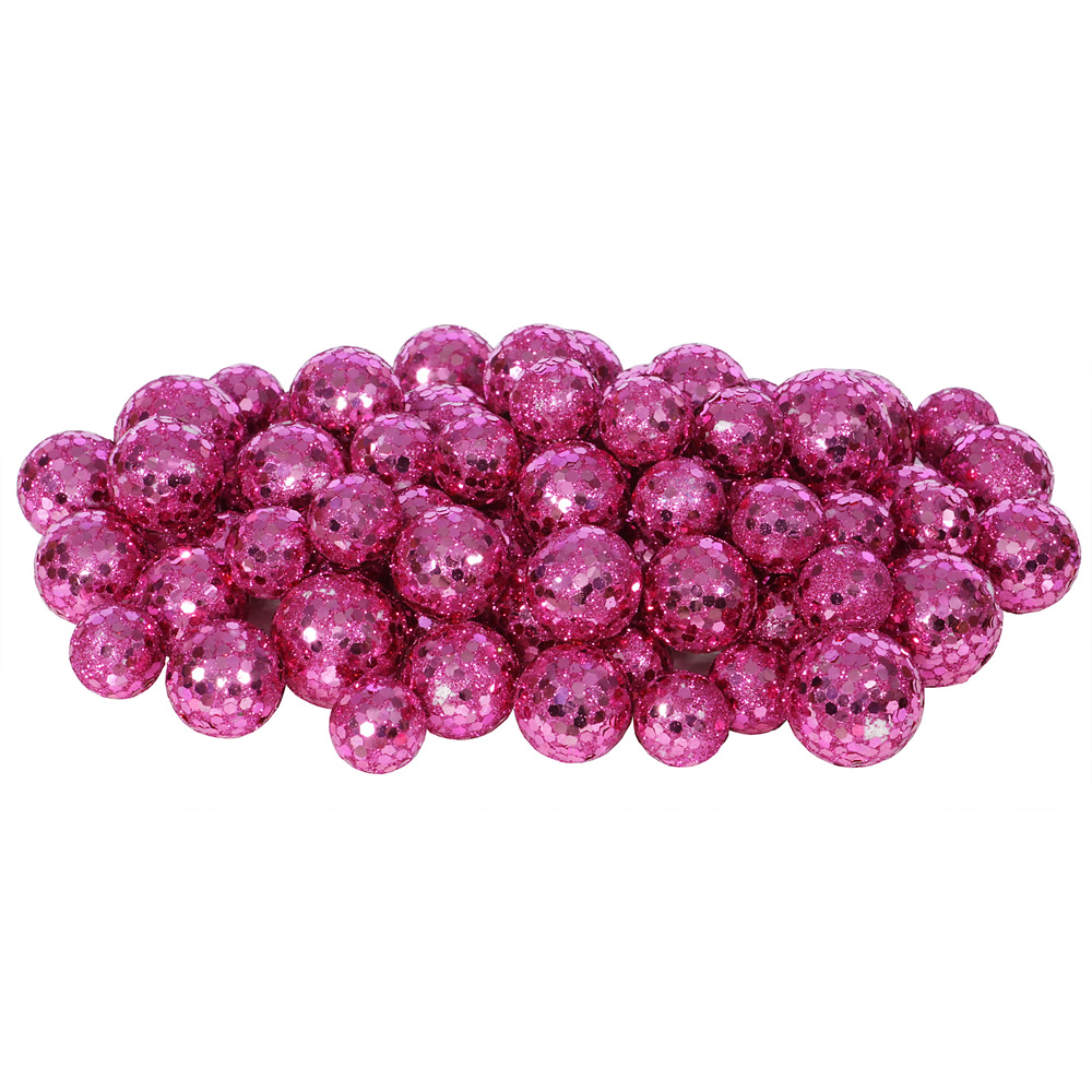 Magenta Glitter Sequin Styrofoam Ball Assorted Sizes Pack of 72