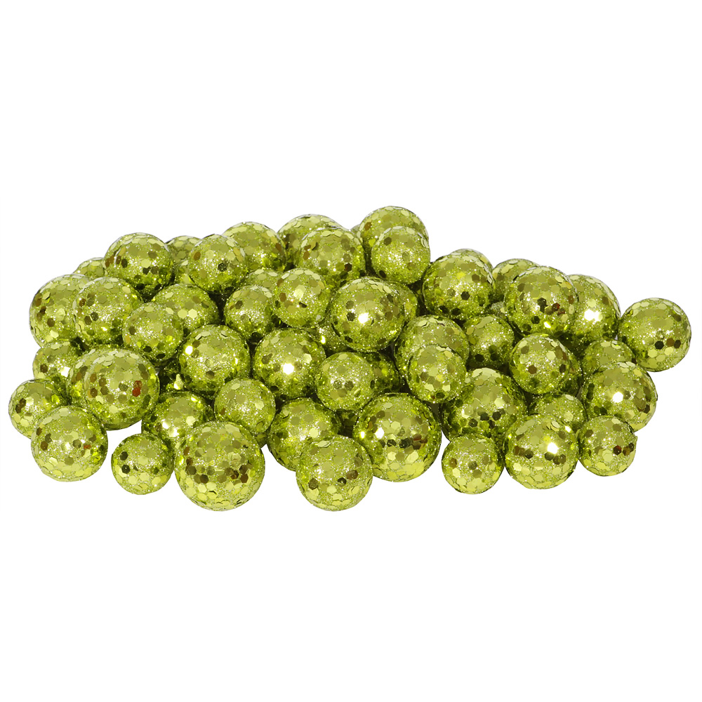 Lime Green Glitter Sequin Styrofoam Ball Assorted Sizes Pack of 72