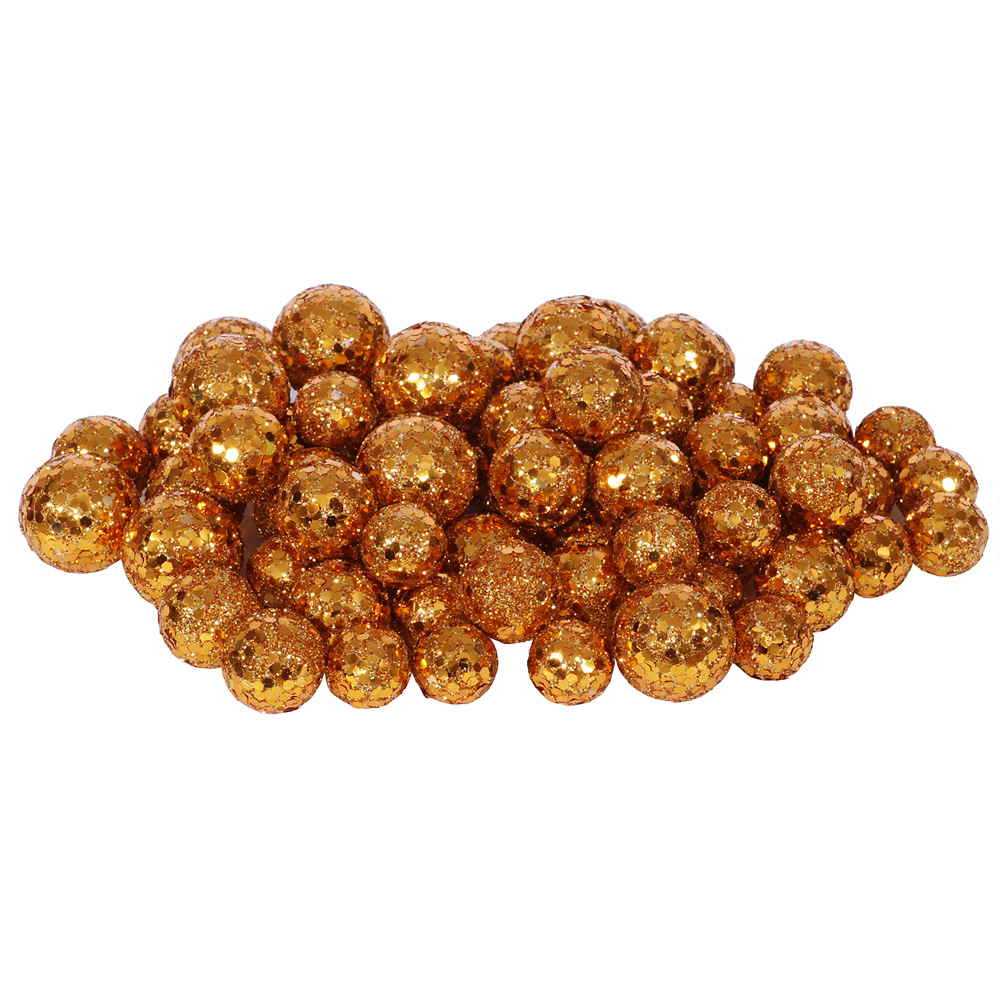 Copper Glitter Sequin Styrofoam Ball Assorted Sizes Pack of 72