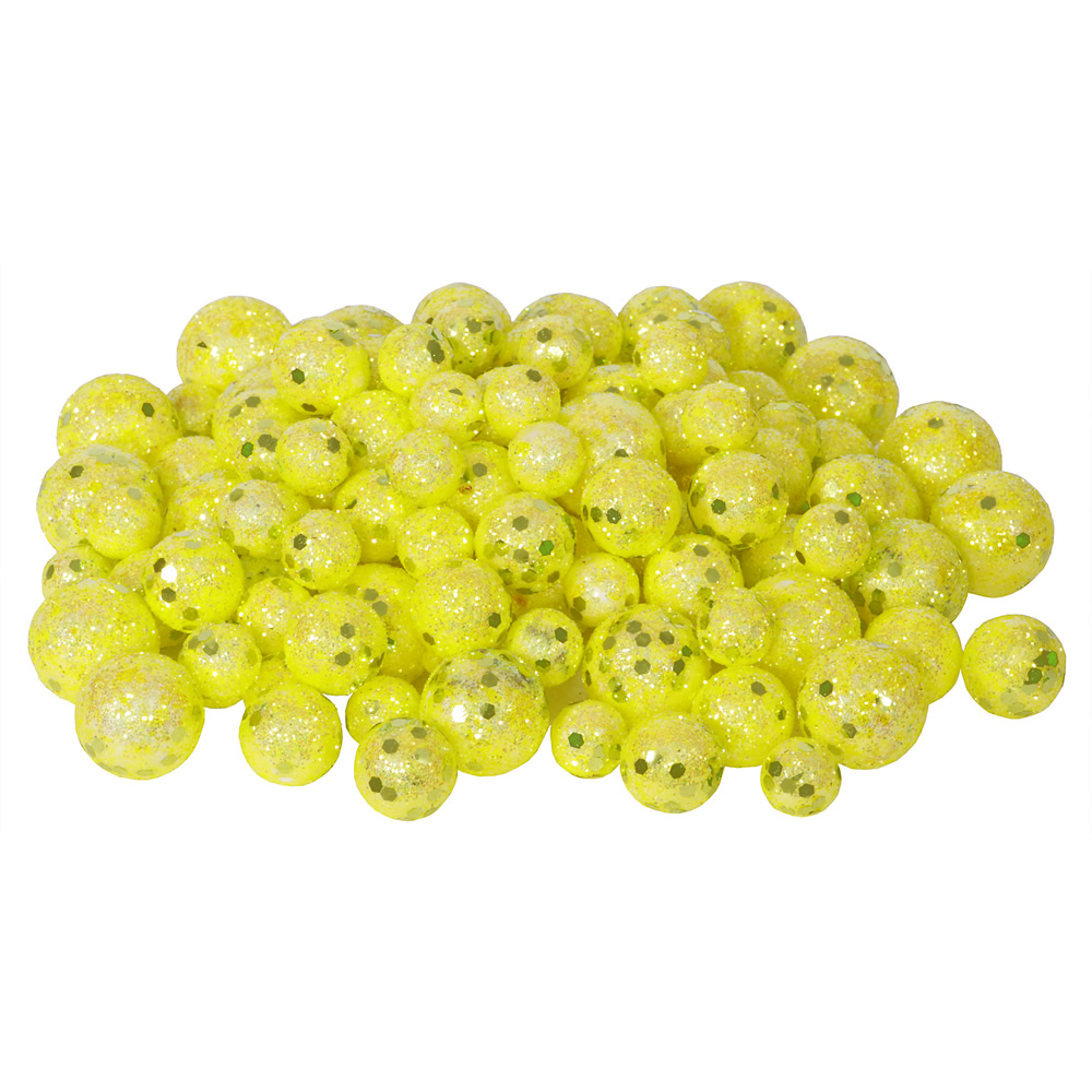 Yellow Glitter Sequin Styrofoam Ball Assorted Sizes