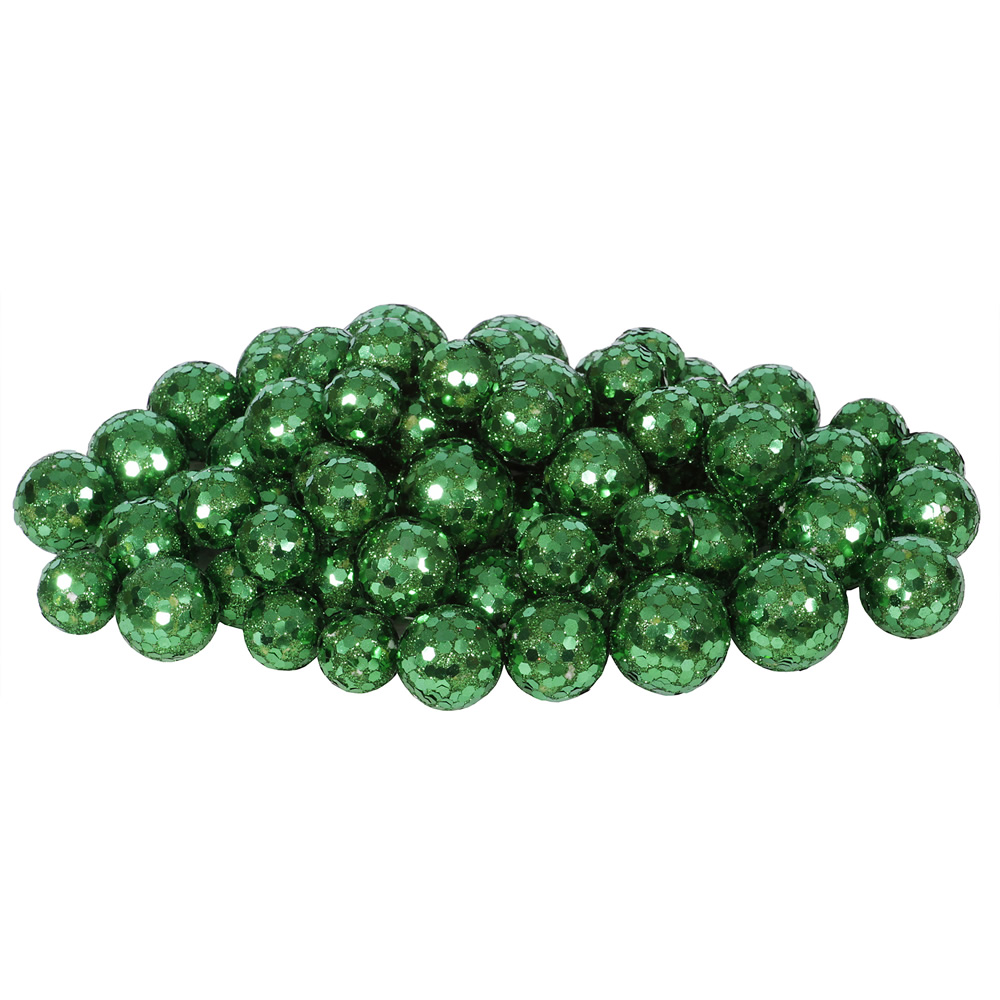 Emerald Green Glitter Sequin Styrofoam Ball Assorted Sizes Pack of 72