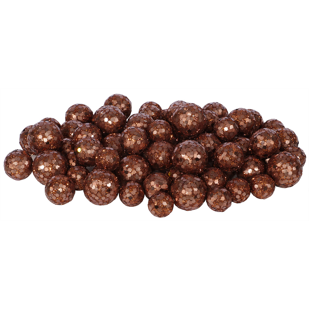 Dark Copper Glitter Sequin Styrofoam Ball Assorted Sizes Pack of 72