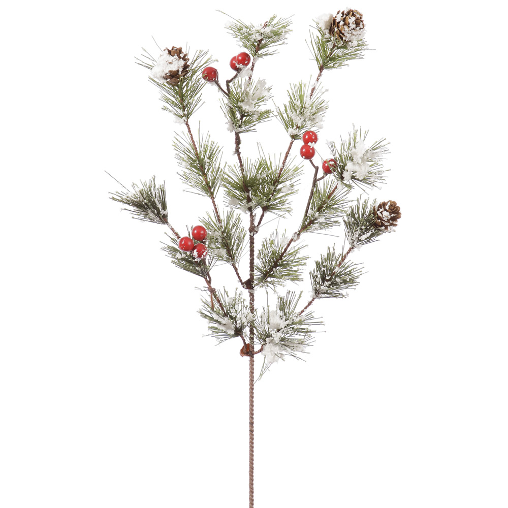 Snowy Monterey Pine Berry Decorative Artificial Spray Set of 12