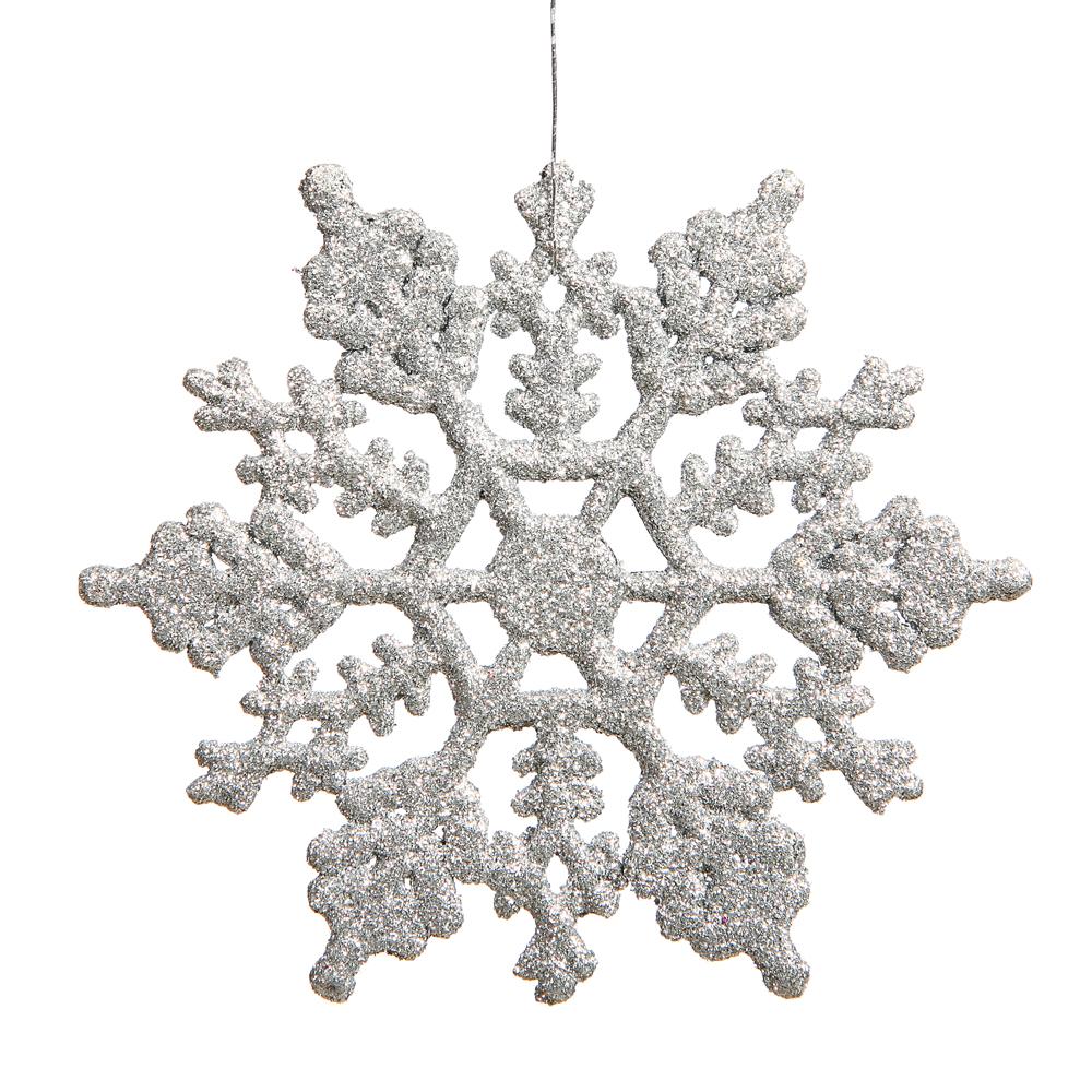 4 Inch Silver Glitter Snowflake Christmas Ornament 2 Per Set4