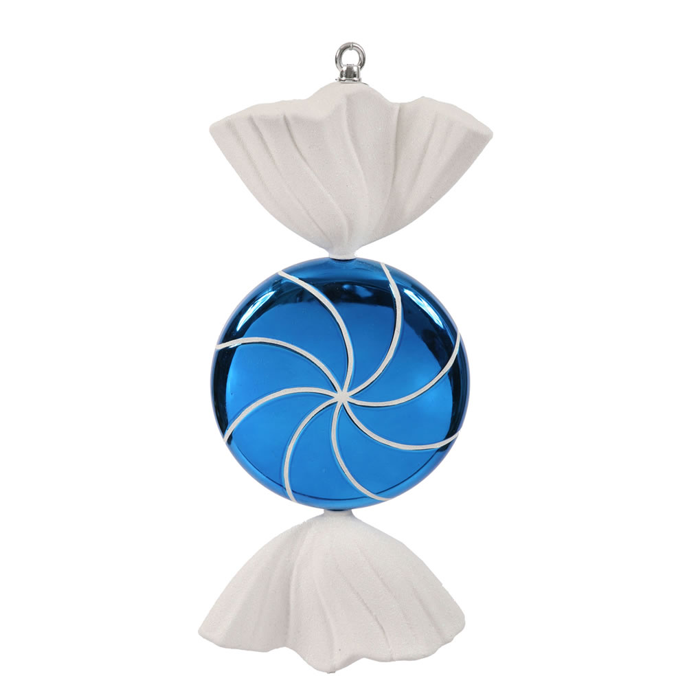 18.5 Inch Blue White Swirl Candy Christmas Ornament