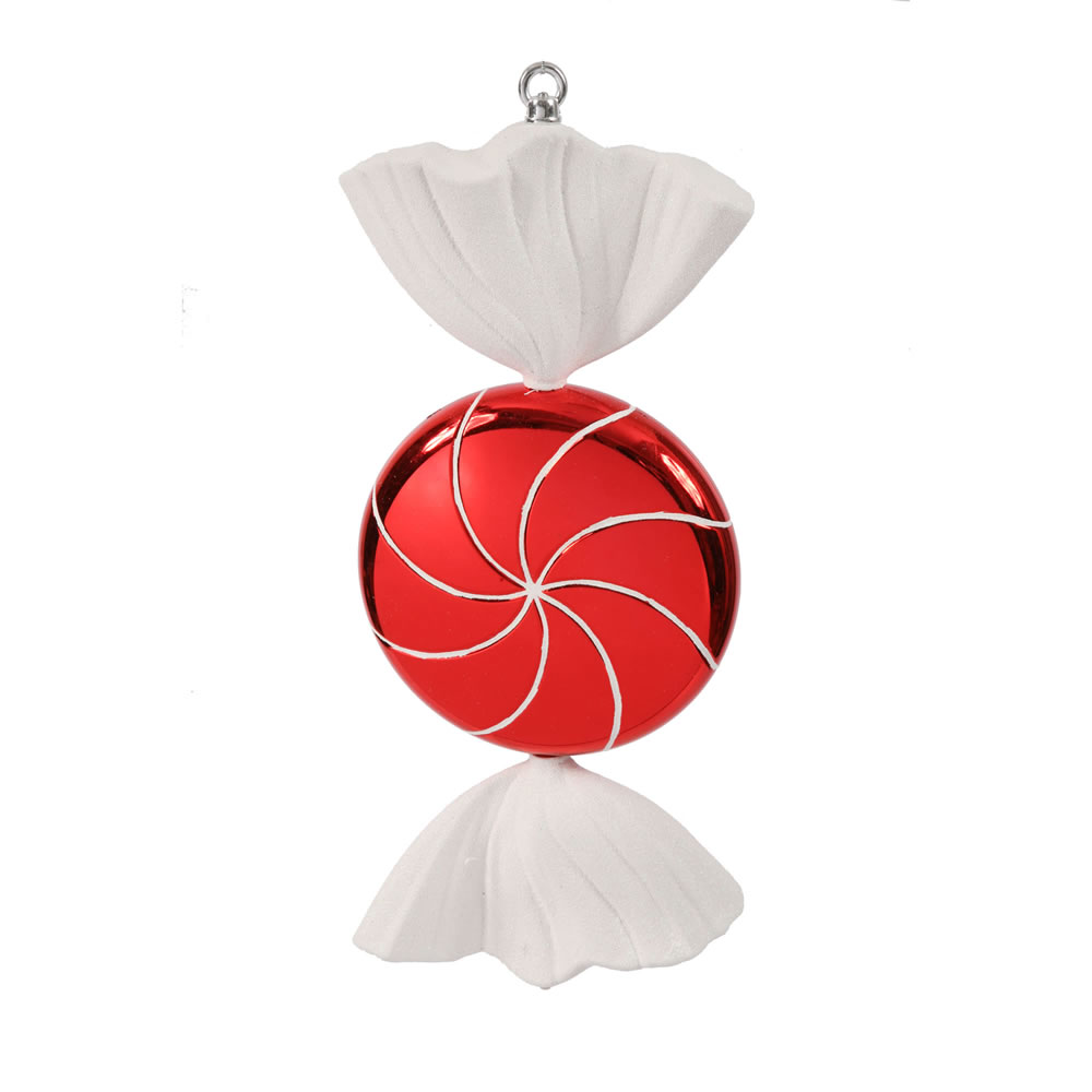 18.5 Inch Red White Swirl Candy Christmas Ornament