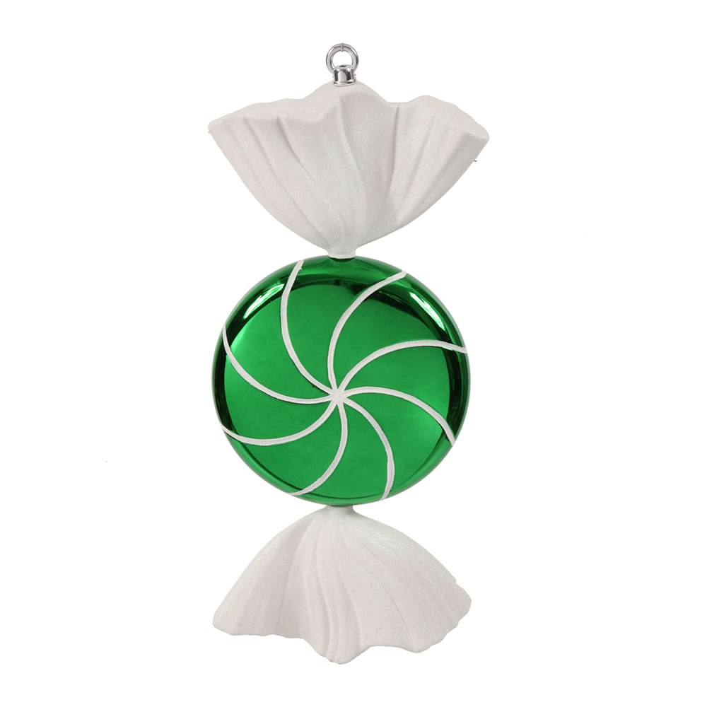 18.5 Inch Green White Swirl Candy Christmas Ornament