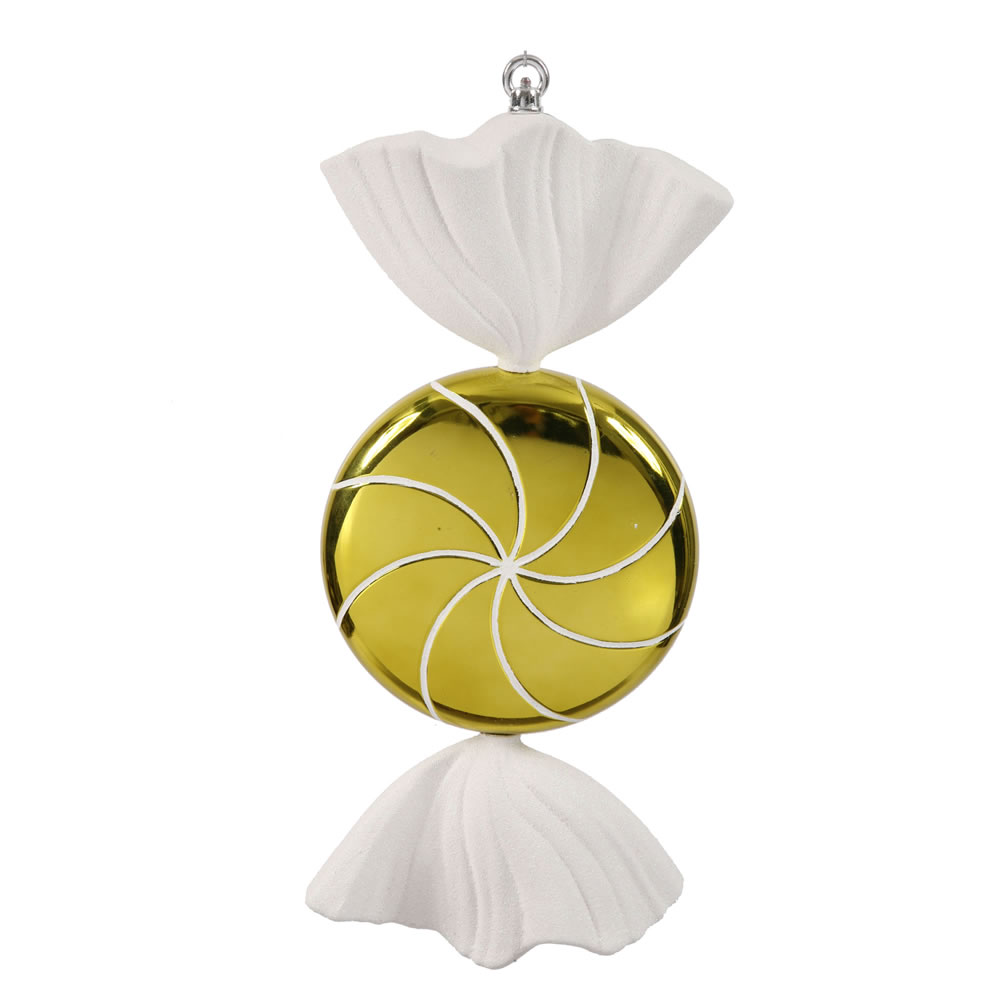 18.5 Inch Lime Green White Swirl Candy Christmas Ornament