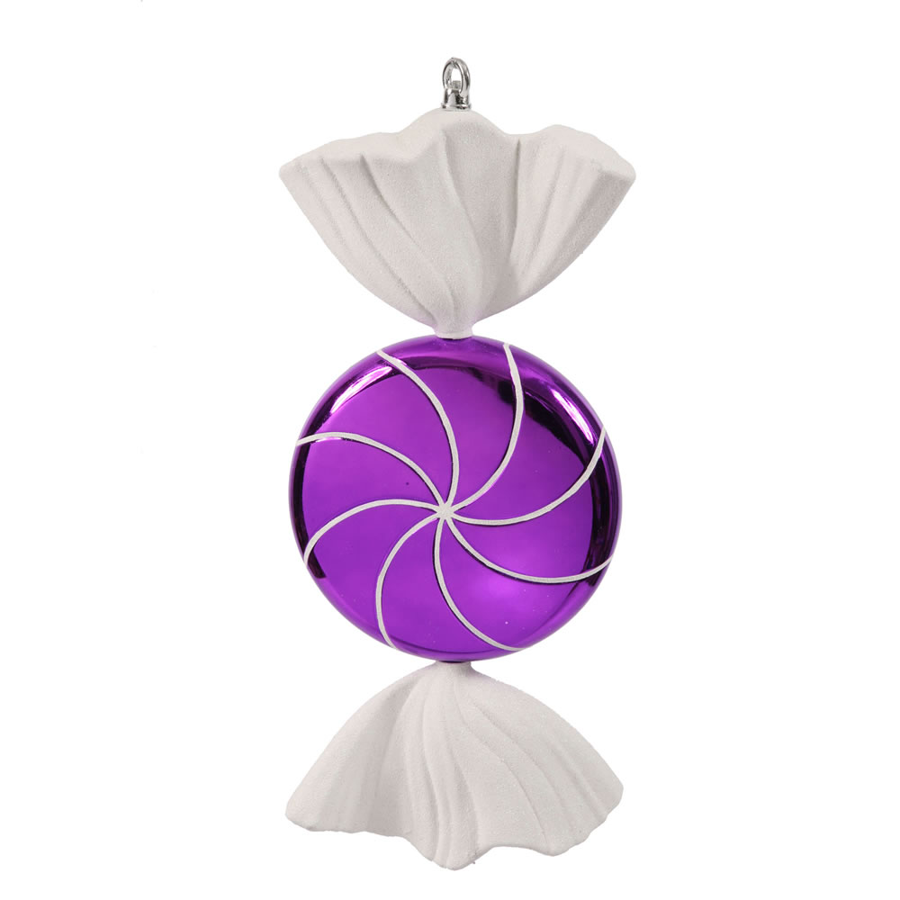 18.5 Inch Purple White Swirl Candy Christmas Ornament