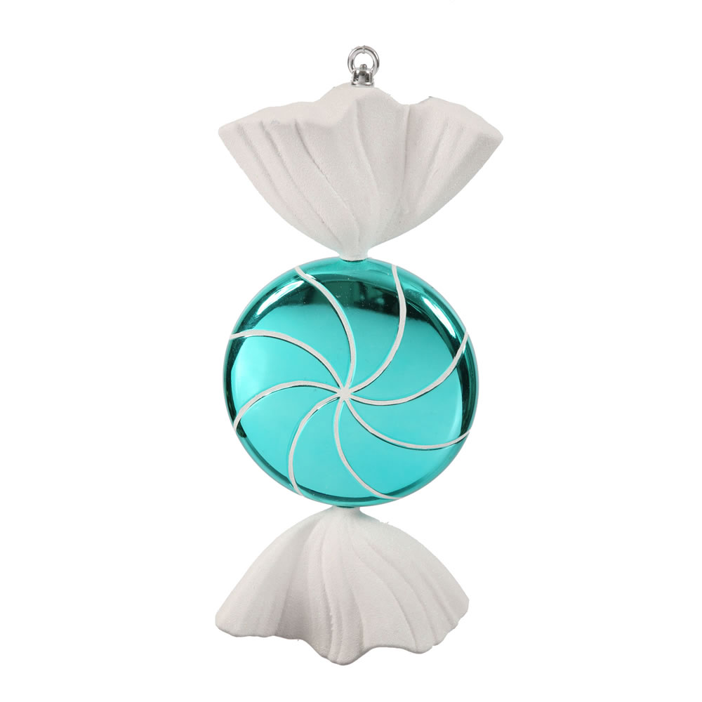 18.5 Inch Turquoise White Swirl Candy Christmas Ornament