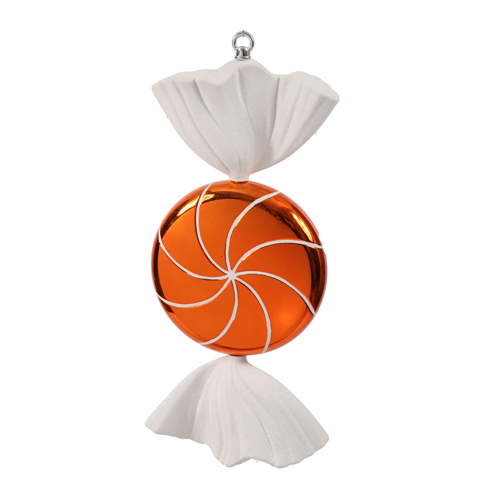18.5 Inch Orange White Swirl Candy Christmas Ornament