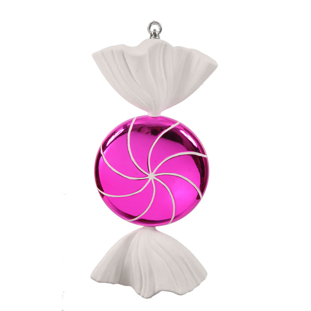 18.5 Inch Cerise Pink White Swirl Candy Christmas Ornament