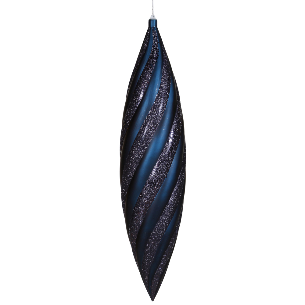 25 Inch Sea Blue Matte with Glitter Swirl Drop Christmas Ornament