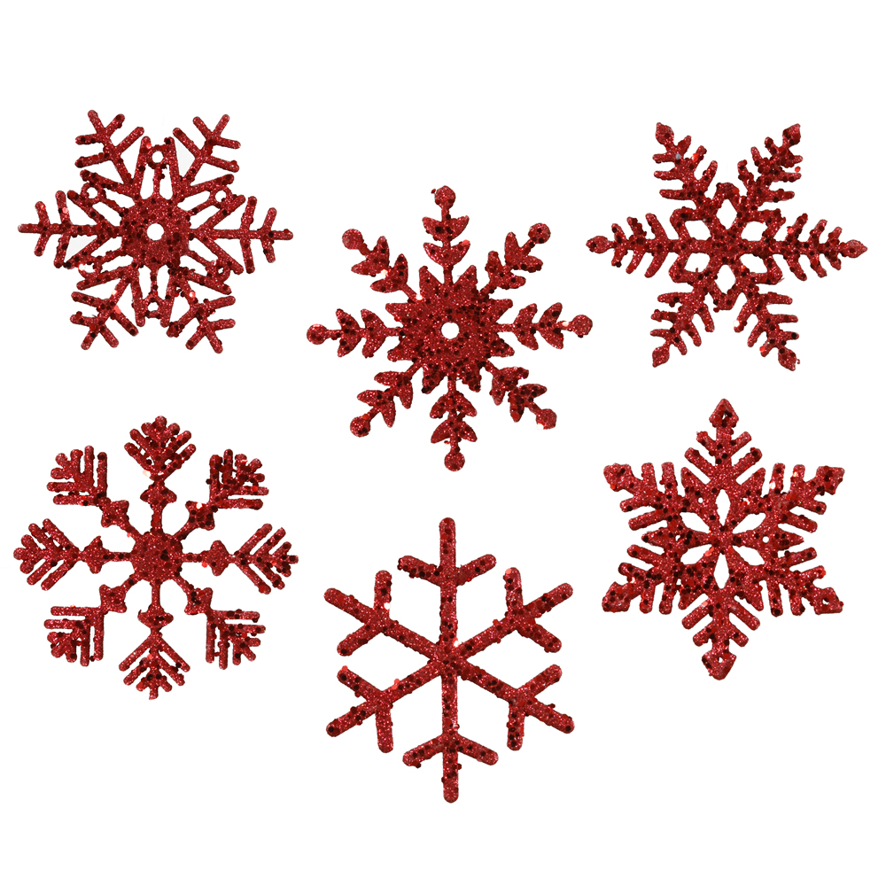 5 Inch Red Glitter Snowflake Christmas Ornament Box of 6