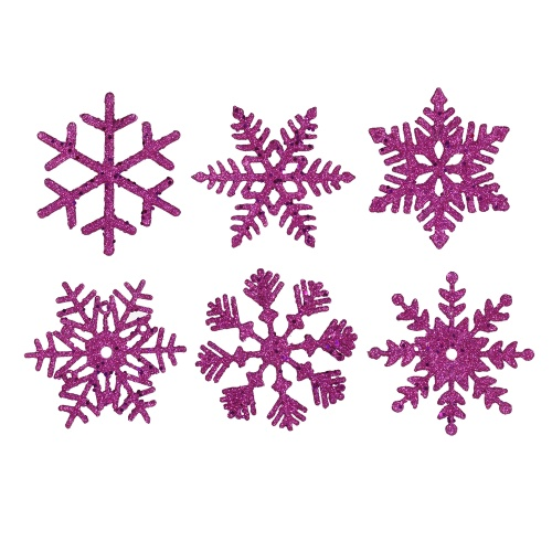 5 Inch Purple Glitter Snowflake Christmas Ornament Box of 6