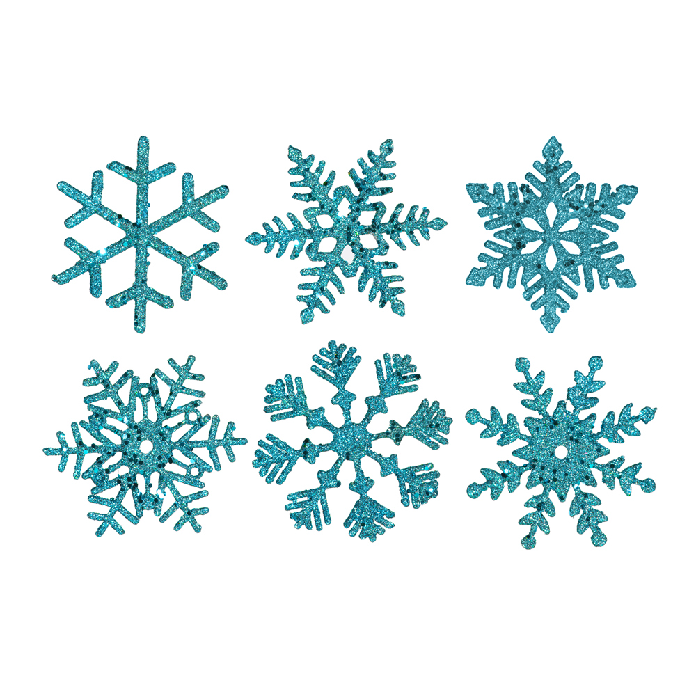 5 Inch Teal Glitter Snowflake Christmas Ornament 6 per Set