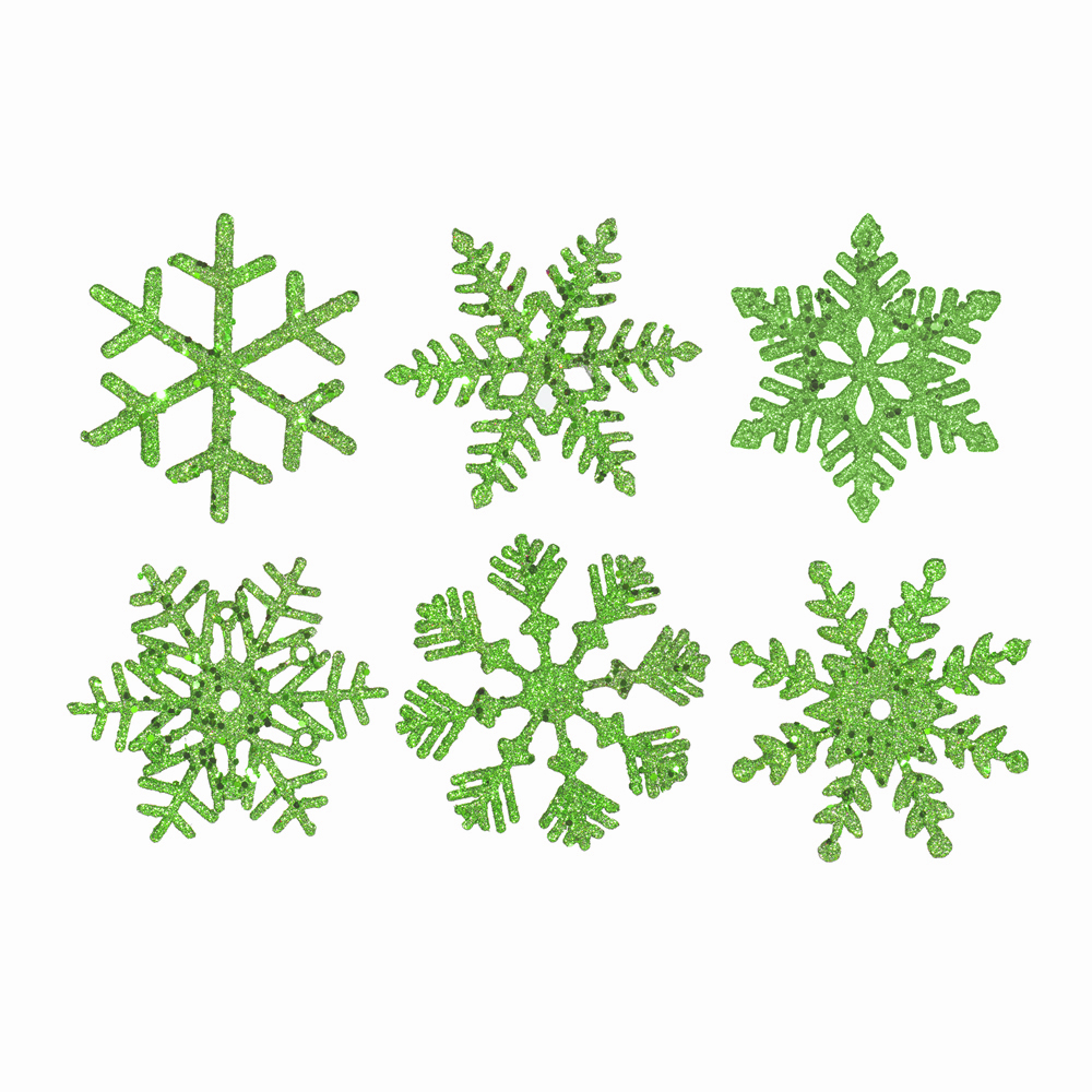 5 Inch Lime Glitter Snowflake Christmas Ornament 6 per Set