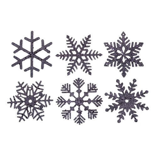 5 Inch Sea Blue Glitter Snowflake Christmas Ornament 6 per Set