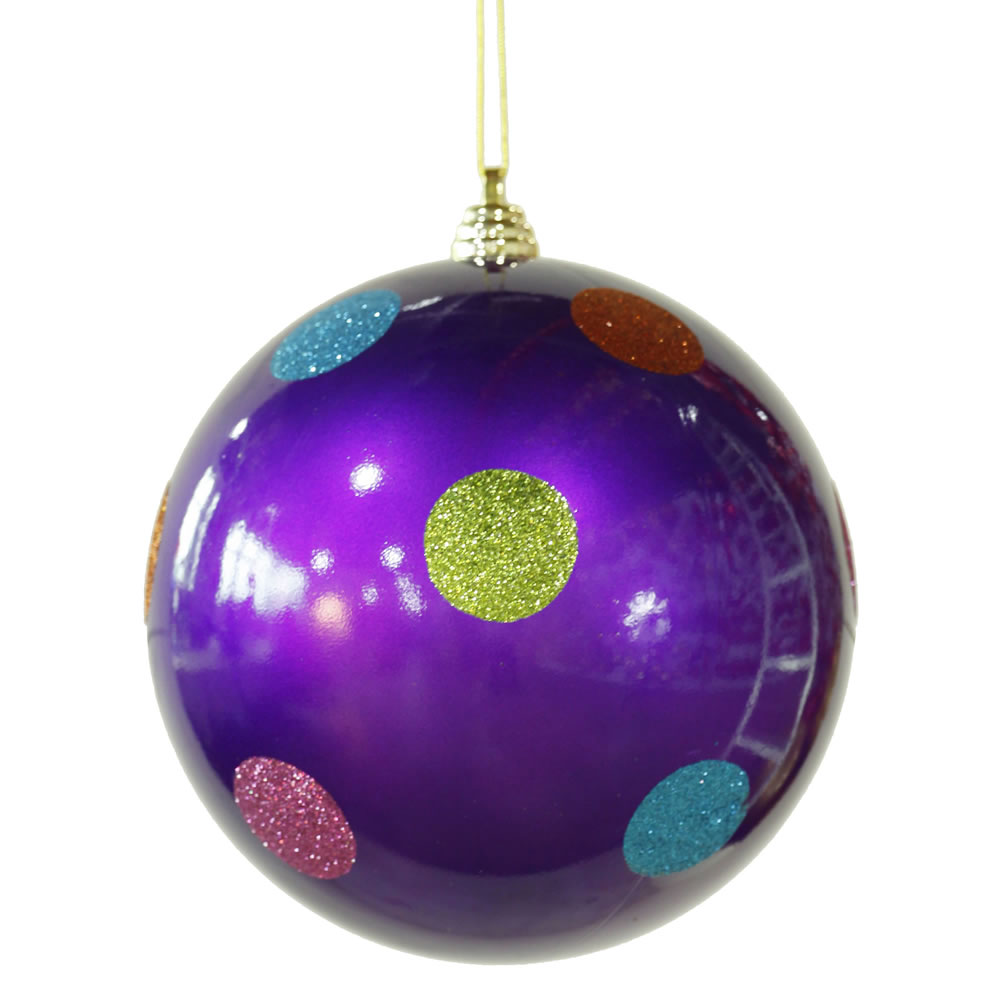 8 Inch Purple Candy Polka Dot Christmas Ornament