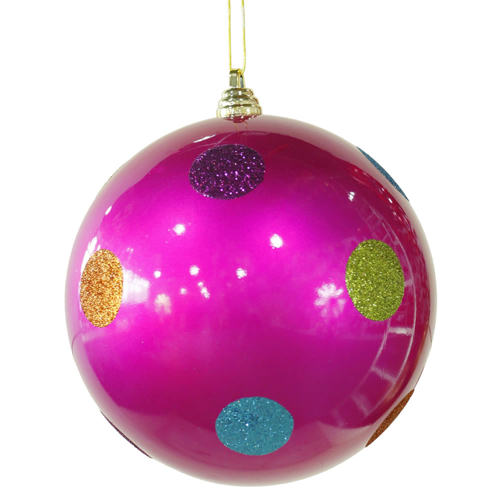 8 Inch Cerise Pink Candy Polka Dot Christmas Ornament