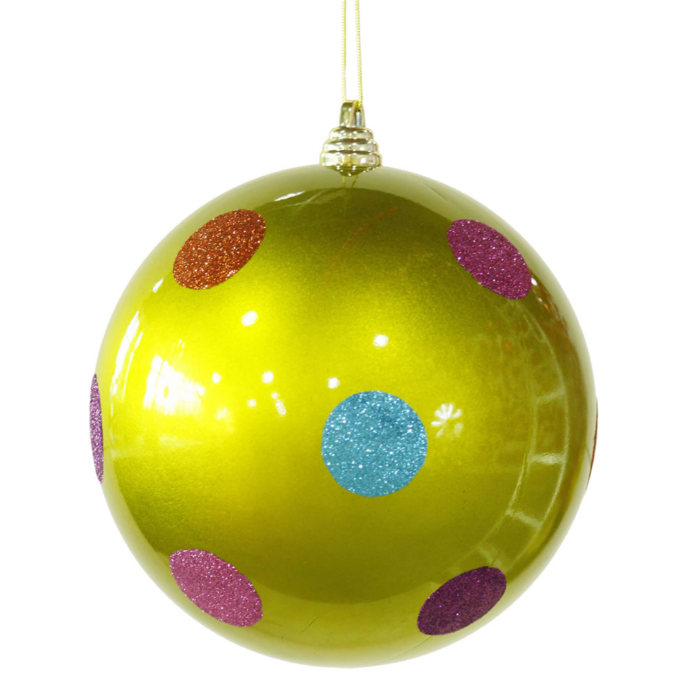 8 Inch Lime Green Candy Polka Dot Christmas Ornament