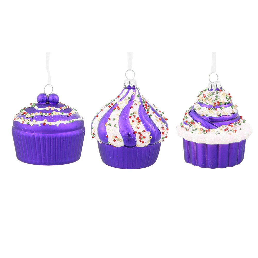 3 Inch Purple Cup Cake Christmas Ornament 3 Assorted