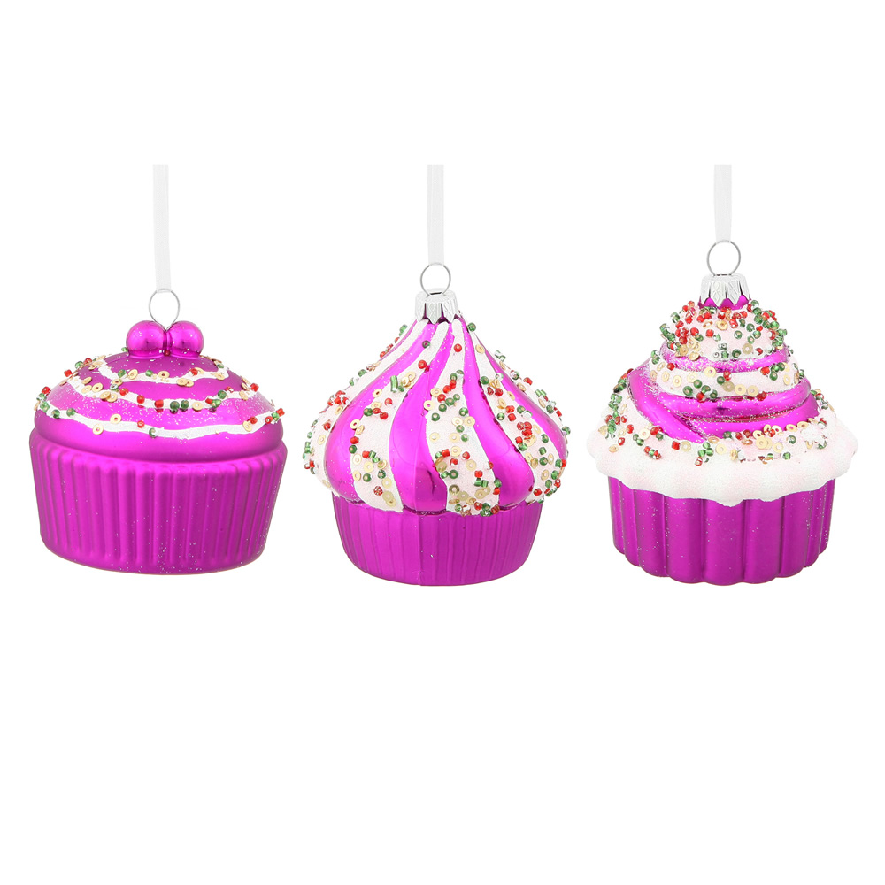 3 Inch Cerise Pink Cup Cake Christmas Ornament 3 Assorted