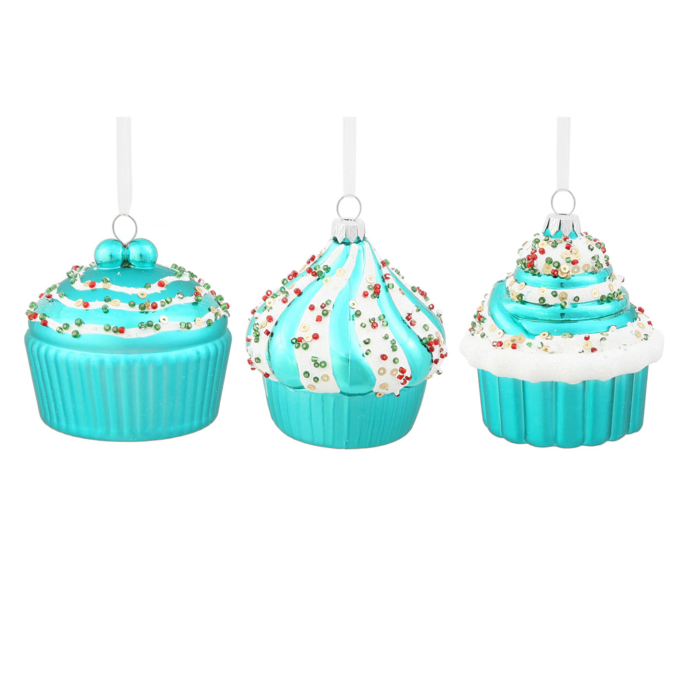 3 Inch Teal Cup Cake Christmas Ornament 3 Assorted