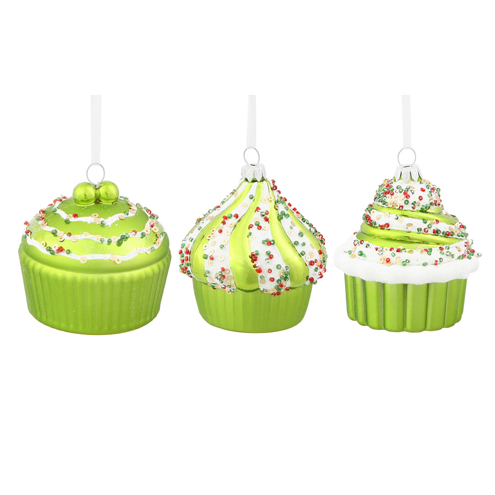 3 Inch Lime Green Cup Cake Christmas Ornament 3 Assorted