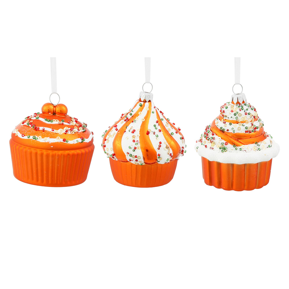 3 Inch Orange Cup Cake Christmas Ornament 3 Assorted