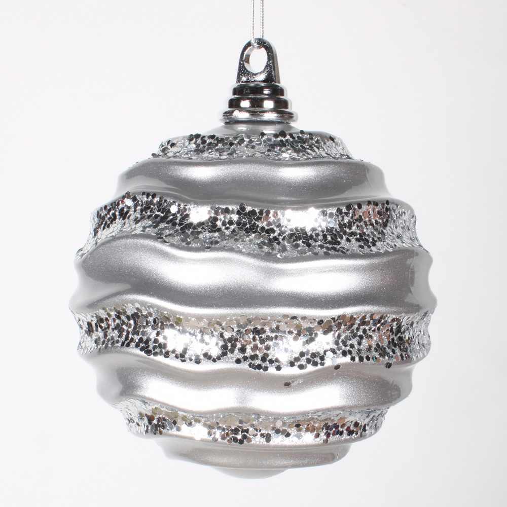 6 Inch Silver Candy Glitter Wave Round Christmas Ball Ornament​