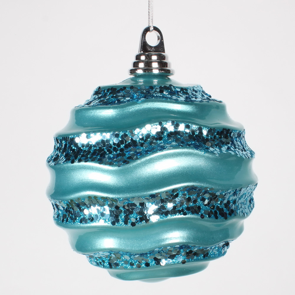 6 Inch Turquoise Candy Glitter Wave Round Christmas Ball Ornament