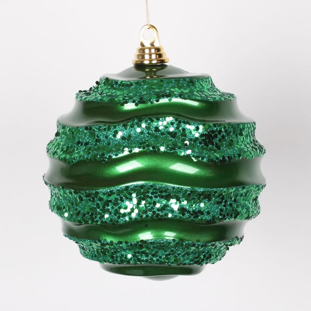 8 Inch Green Candy Glitter Wave Round Christmas Ball Ornament