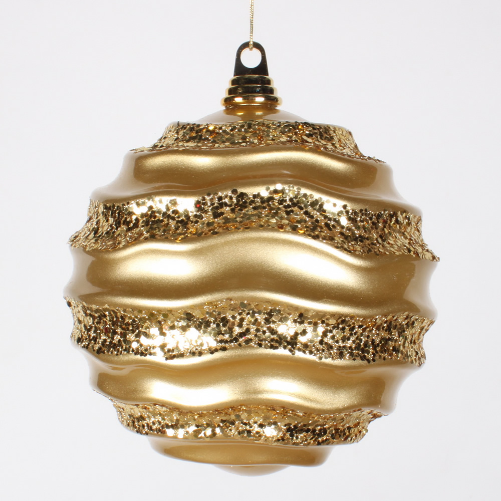 8 Inch Gold Candy Glitter Wave Round Christmas Ball Ornament