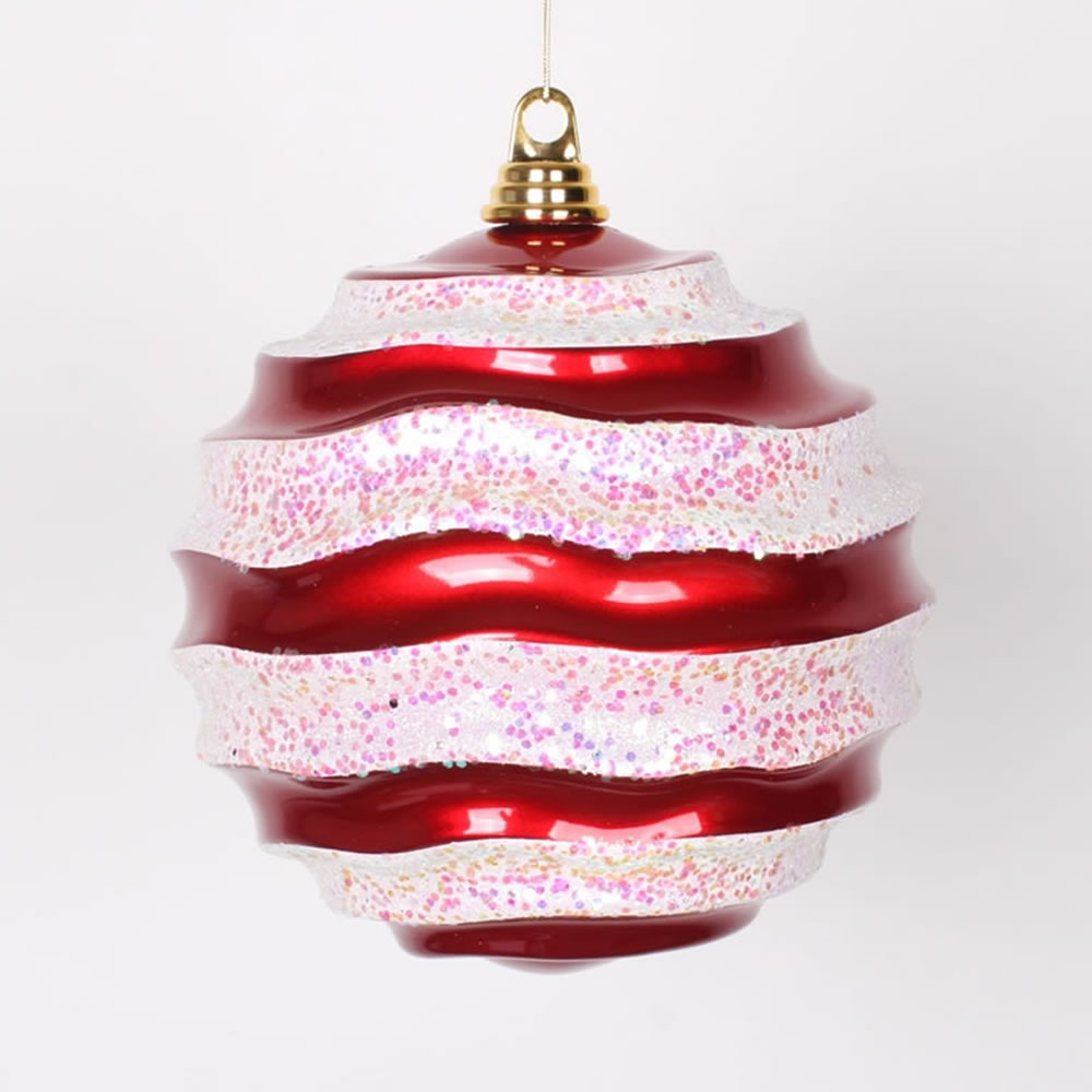 8 Inch Red and White Candy Glitter Wave Round Christmas Ball Ornament