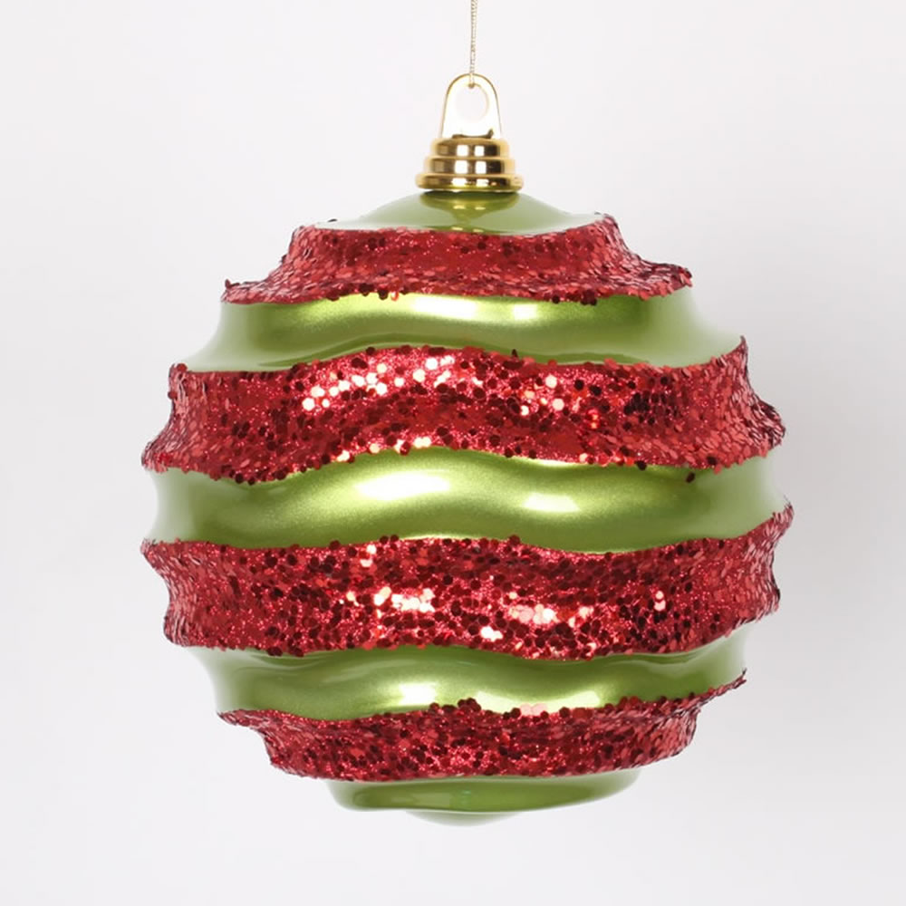 8 Inch Lime Green and Red Candy Glitter Wave Round Christmas Ball Ornament
