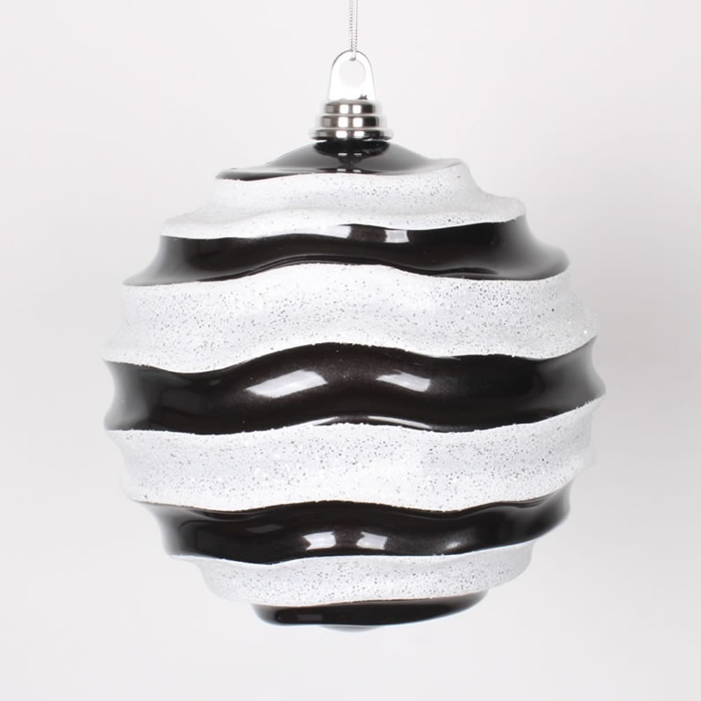 8 Inch Black and White Candy Glitter Wave Round Christmas Ball Ornament
