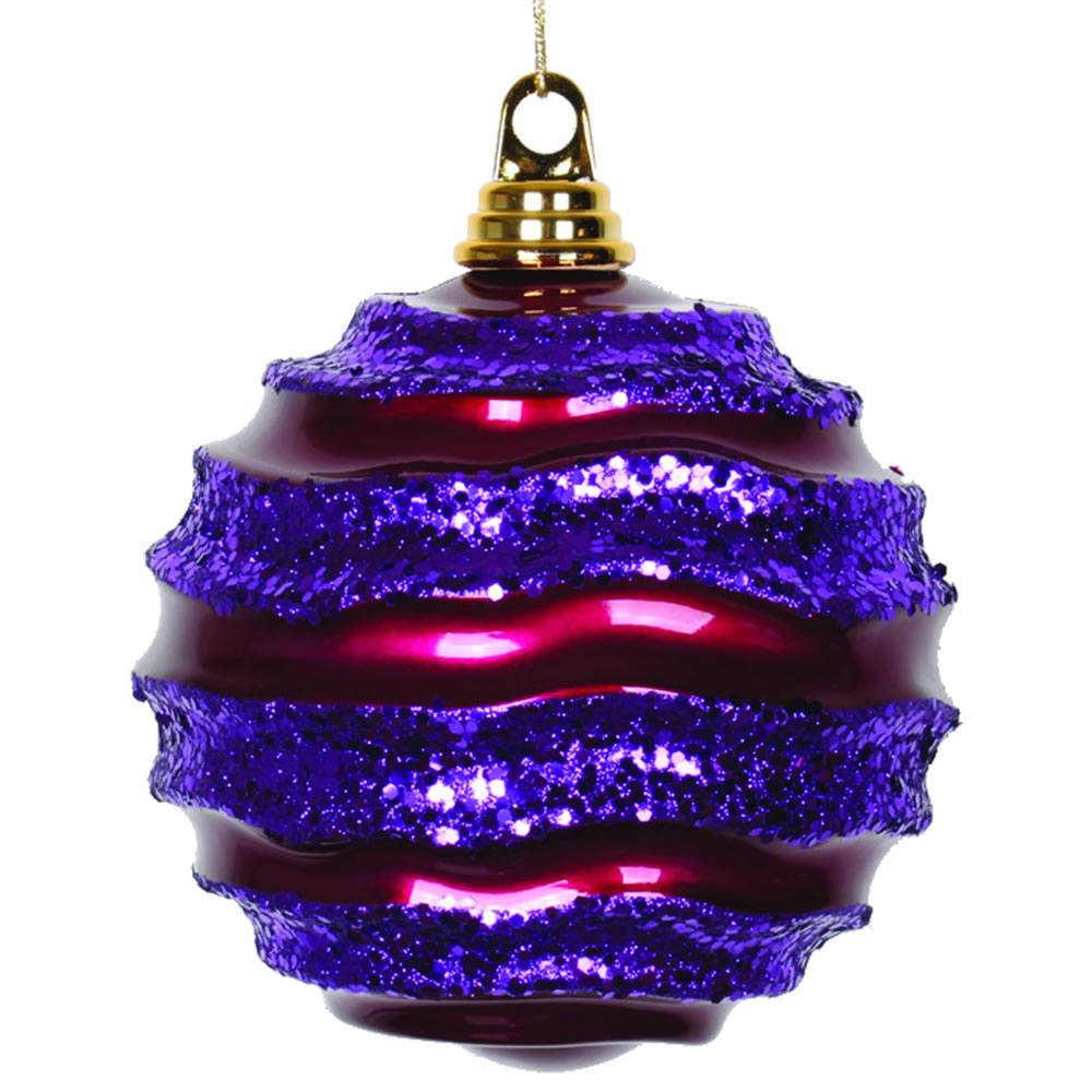 8 Inch Cerise And Purple Glitter Wave Round Christmas Ball Ornament