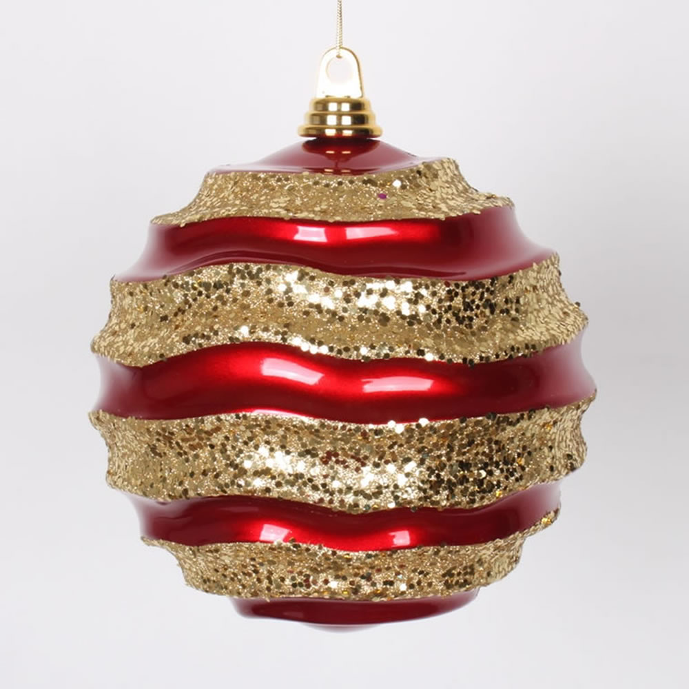 8 Inch Red and Gold Candy Glitter Wave Round Christmas Ball Ornament