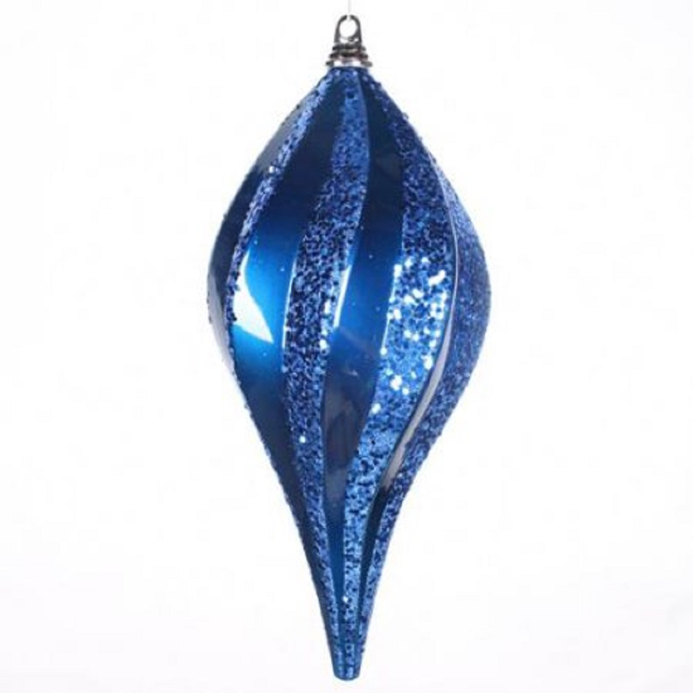 8 Inch Blue Candy Glitter Swirl Drop Ornament