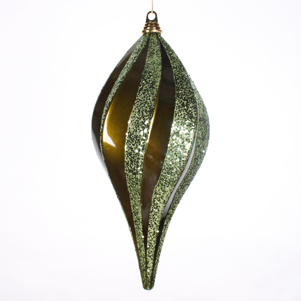 8 Inch Olive Candy Glitter Swirl Drop Ornament