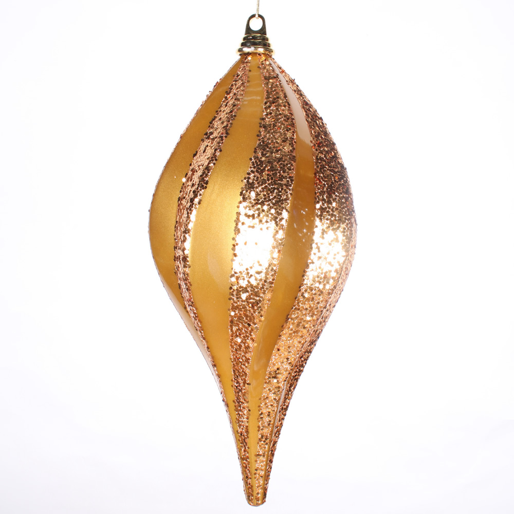 8 Inch Antique Gold Candy Glitter Swirl Drop Ornament