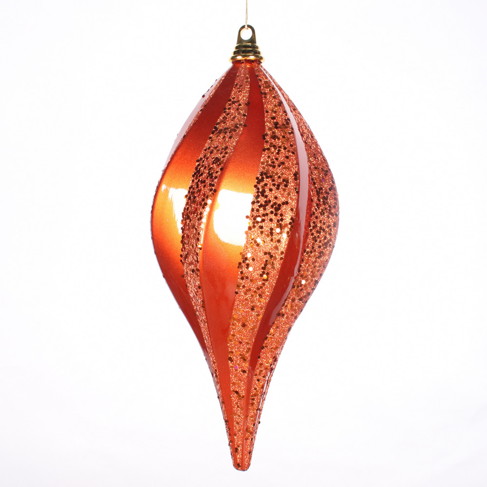 8 Inch Orange Candy Glitter Swirl Drop Ornament