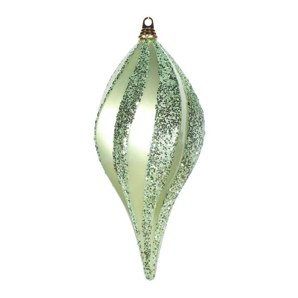 8 Inch Celadon Candy Glitter Swirl Drop Ornament