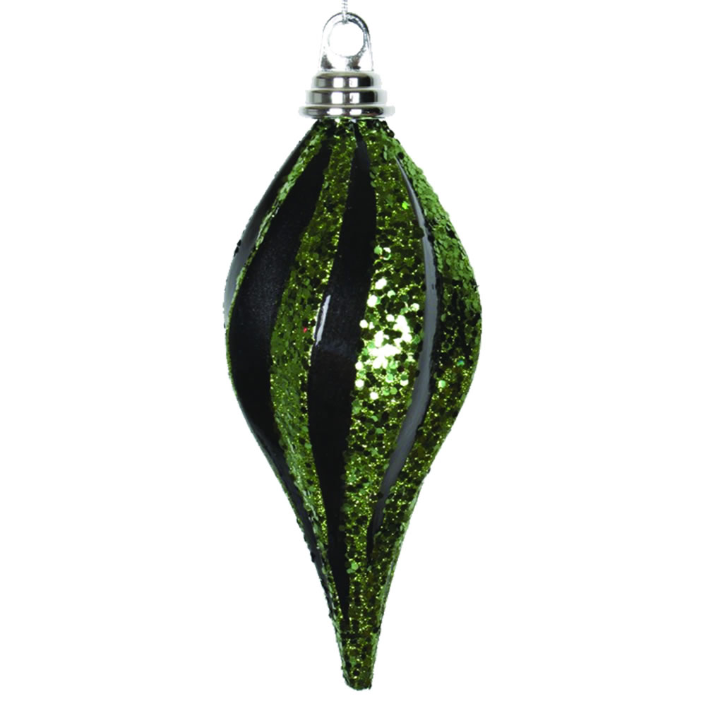 8 Inch Black and Lime Candy Glitter Swirl Drop Ornament