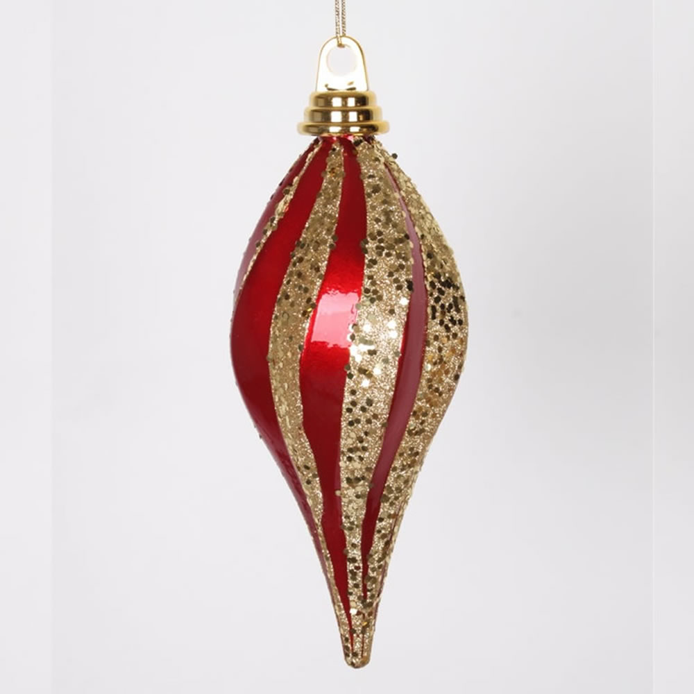8 Inch Red and Gold Candy Glitter Swirl Drop Ornament