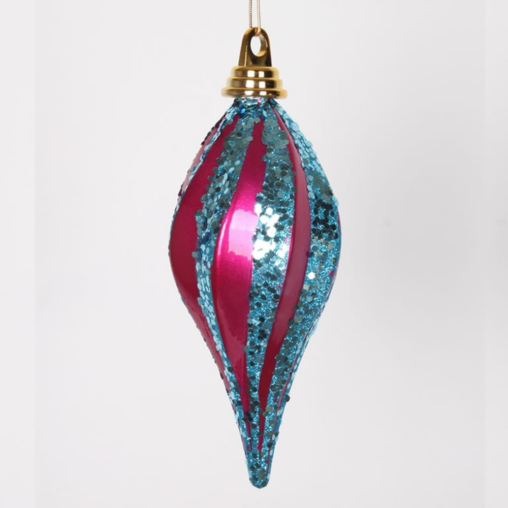 8 Inch Cerise and Turquoise Candy Glitter Swirl Drop Ornament